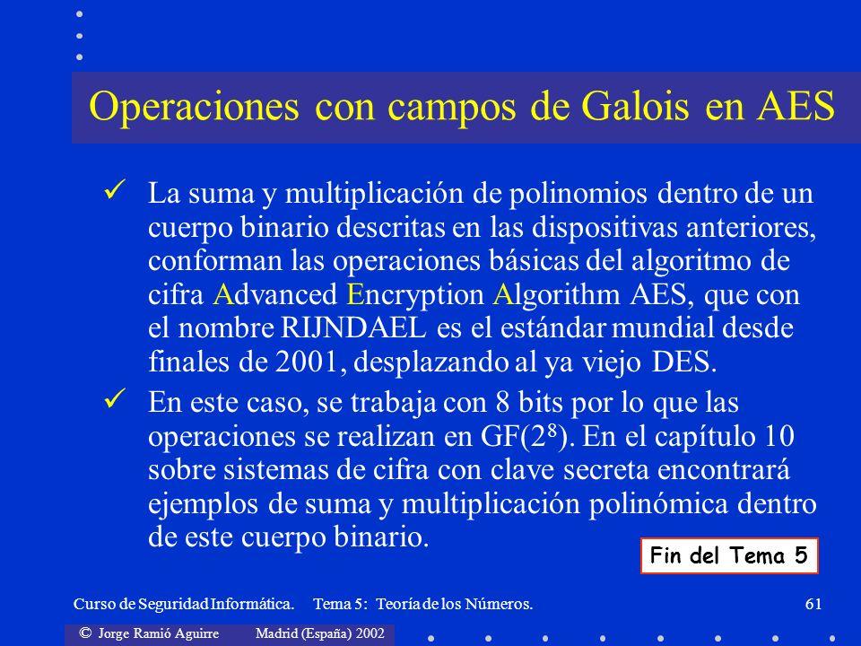 Operaciones con campos de Galois en AES
