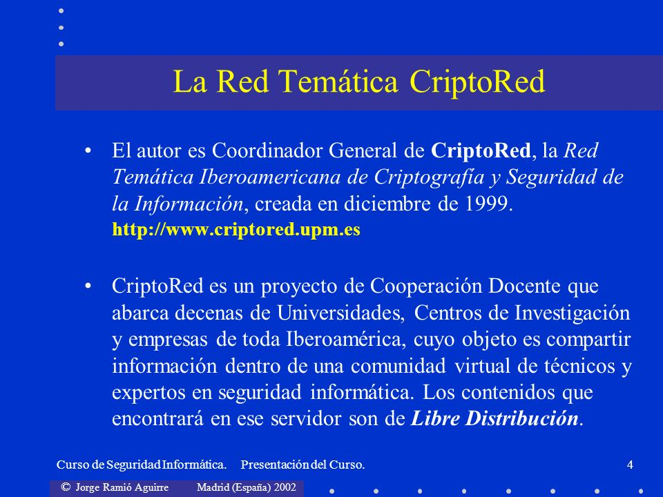 La Red Temática CriptoRed