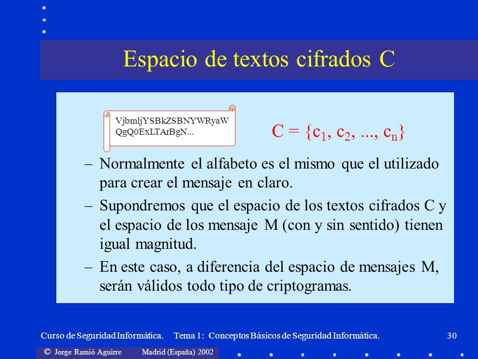 Espacio de textos cifrados C