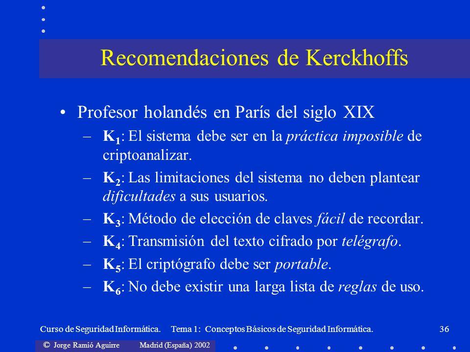 Recomendaciones de Kerckhoffs