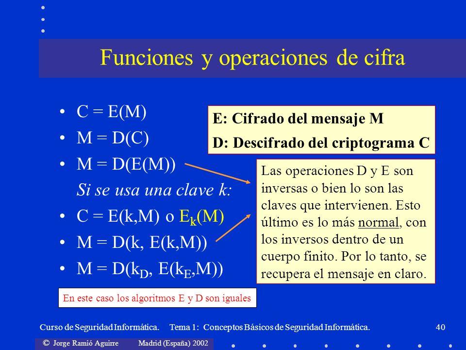 Funciones y operaciones de cifra