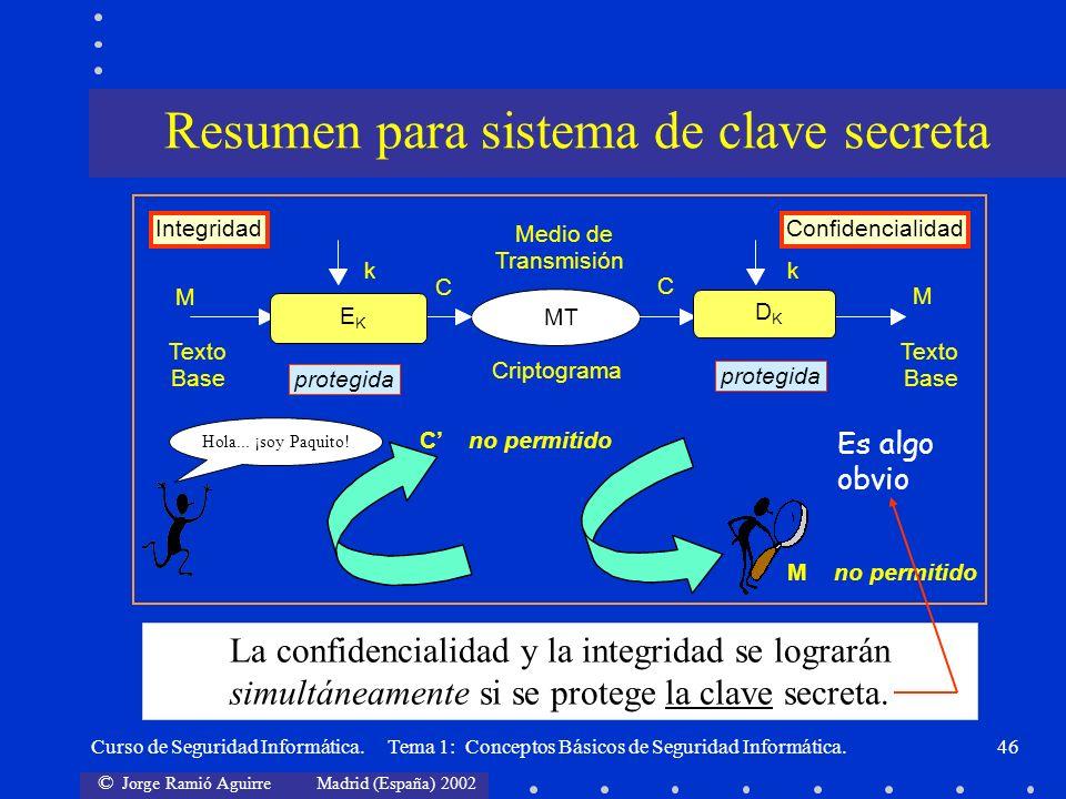 Resumen para sistema de clave secreta