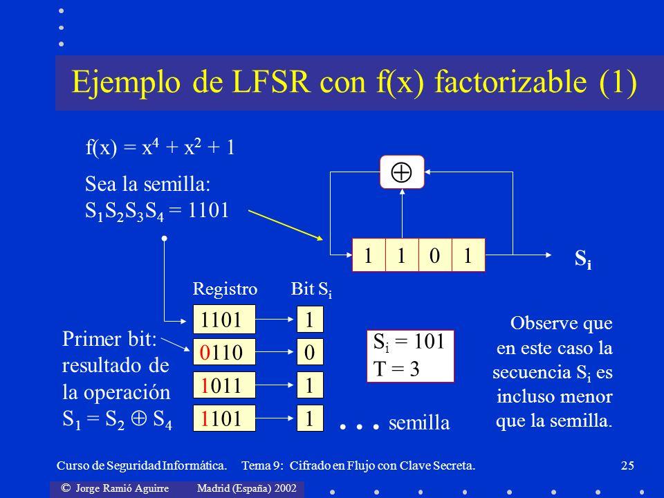 Ejemplo de LFSR con f(x) factorizable (1)