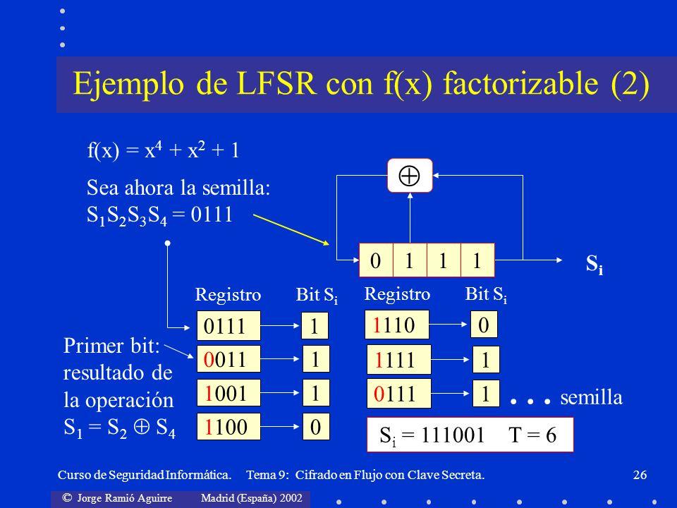 Ejemplo de LFSR con f(x) factorizable (2)