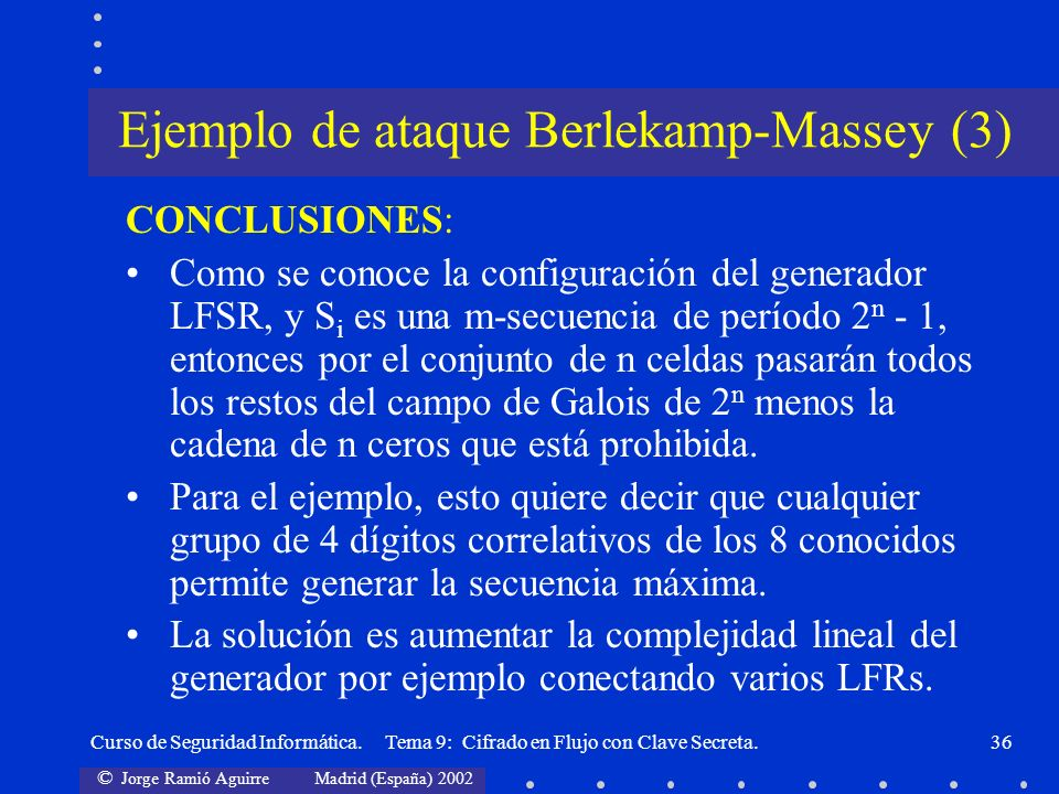Ejemplo de ataque Berlekamp-Massey (3)