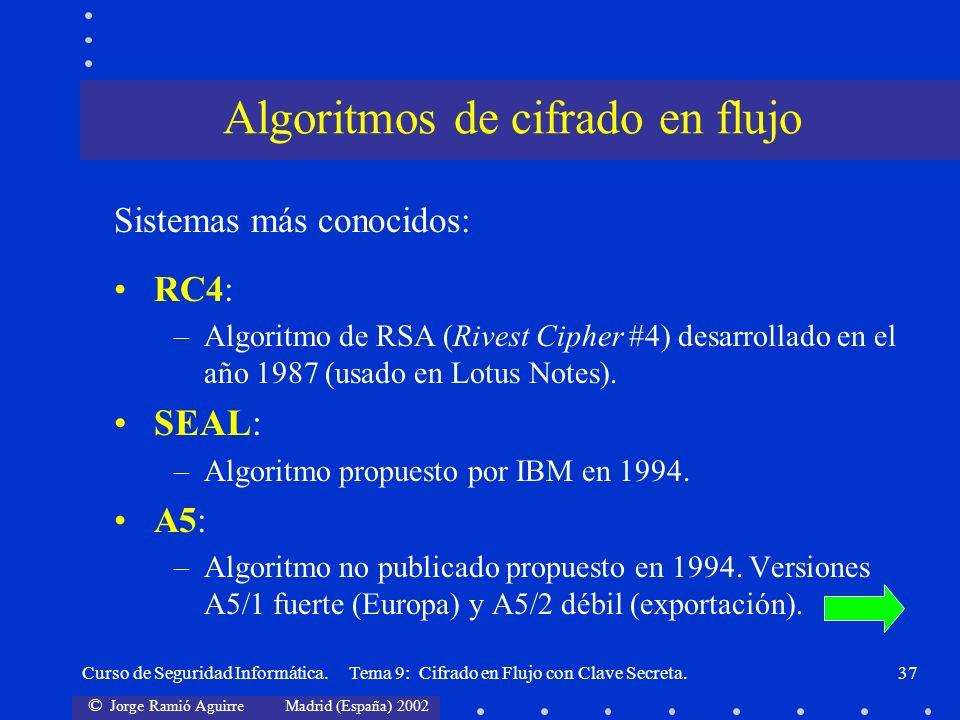 Algoritmos de cifrado en flujo