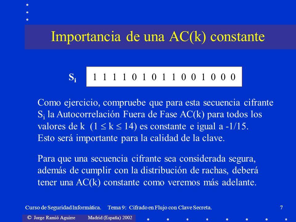 Importancia de una AC(k) constante