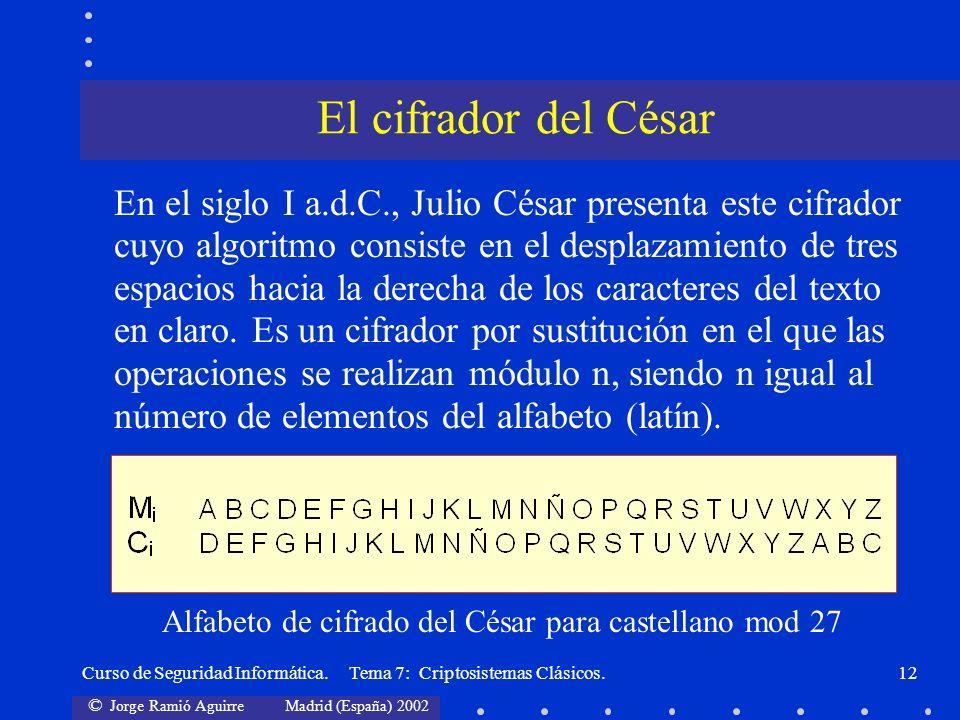 Alfabeto de cifrado del César para castellano mod 27
