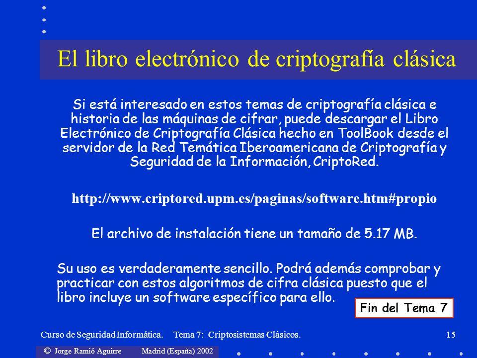 El libro electrónico de criptografía clásica