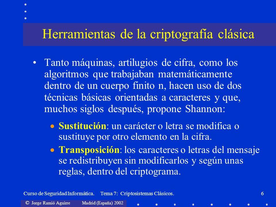 Herramientas de la criptografía clásica