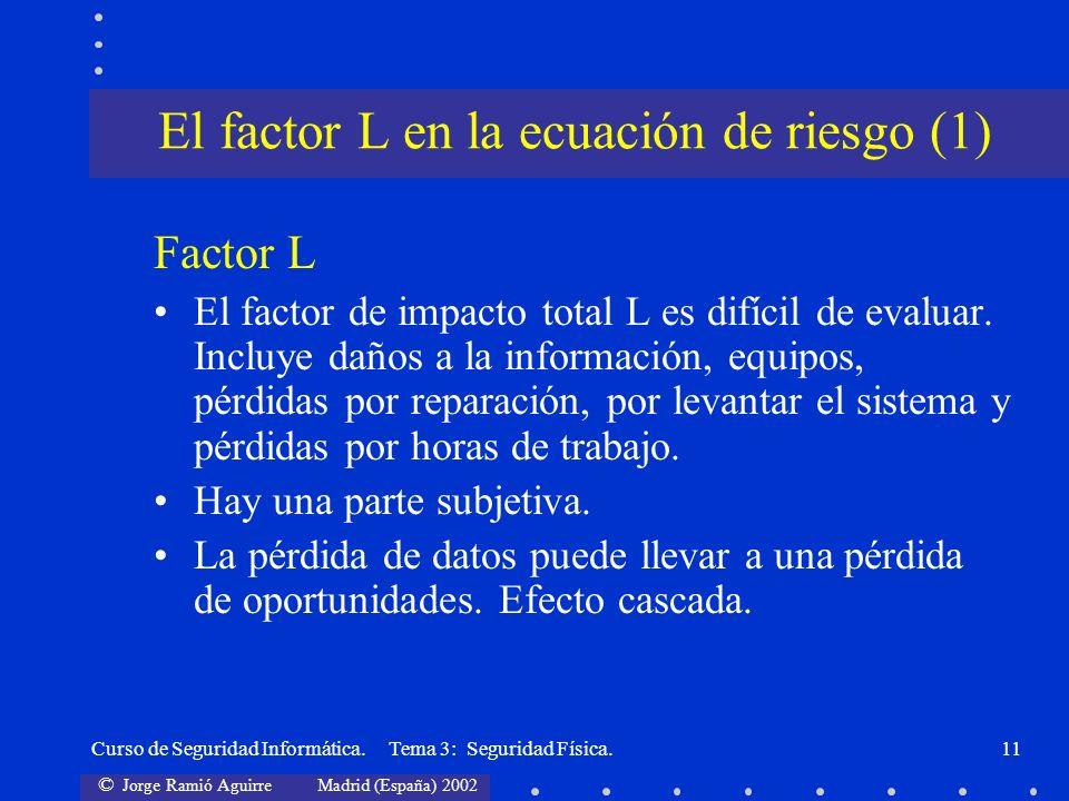 El factor L en la ecuación de riesgo (1)