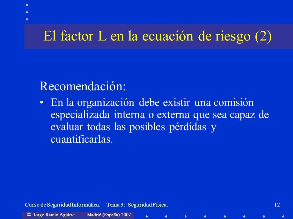 El factor L en la ecuación de riesgo (2)