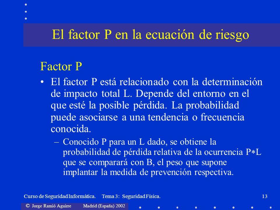 El factor P en la ecuación de riesgo