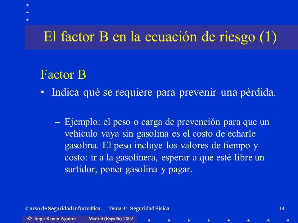 El factor B en la ecuación de riesgo (1)
