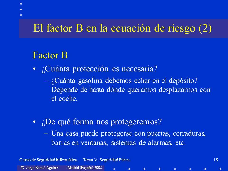 El factor B en la ecuación de riesgo (2)