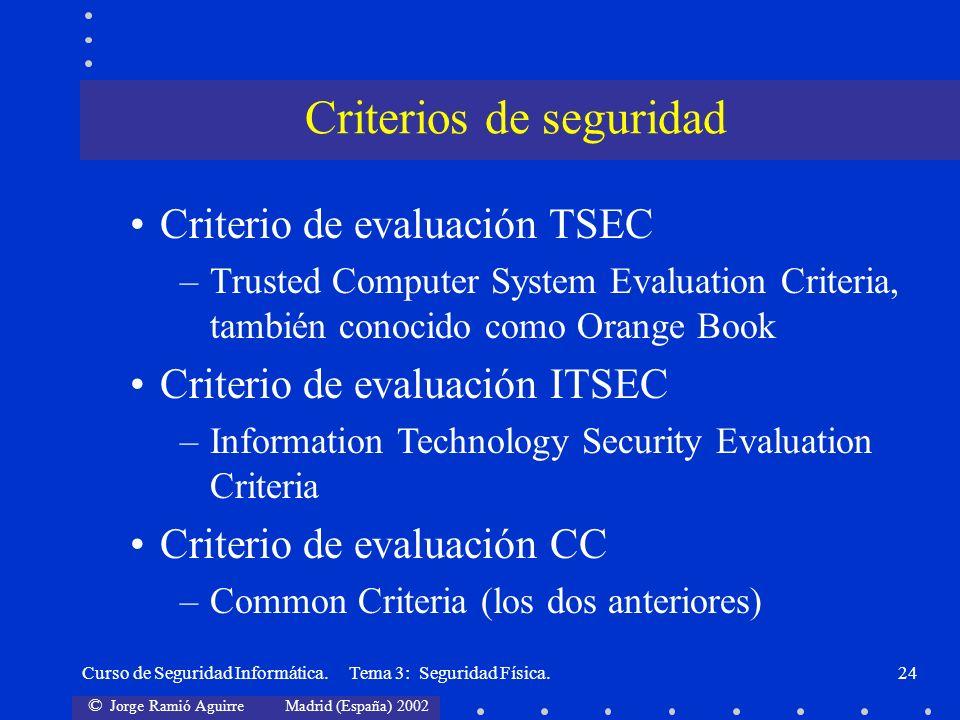 Criterios de seguridad