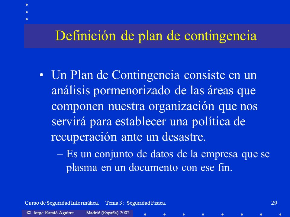 Definición de plan de contingencia