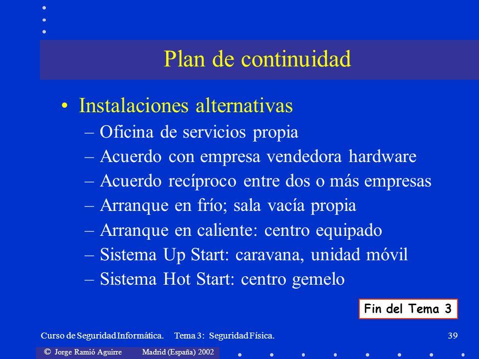 Plan de continuidad Instalaciones alternativas