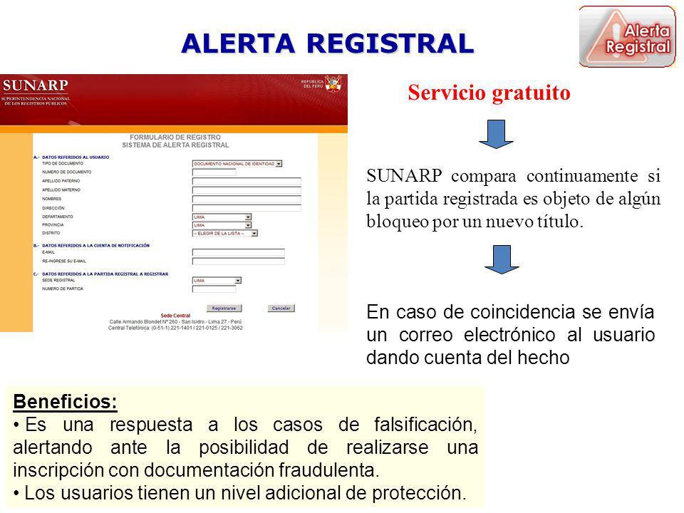 ALERTA REGISTRAL Servicio gratuito