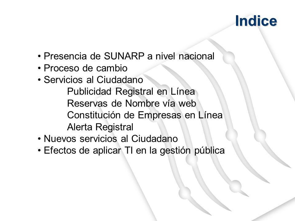 Indice Presencia de SUNARP a nivel nacional Proceso de cambio