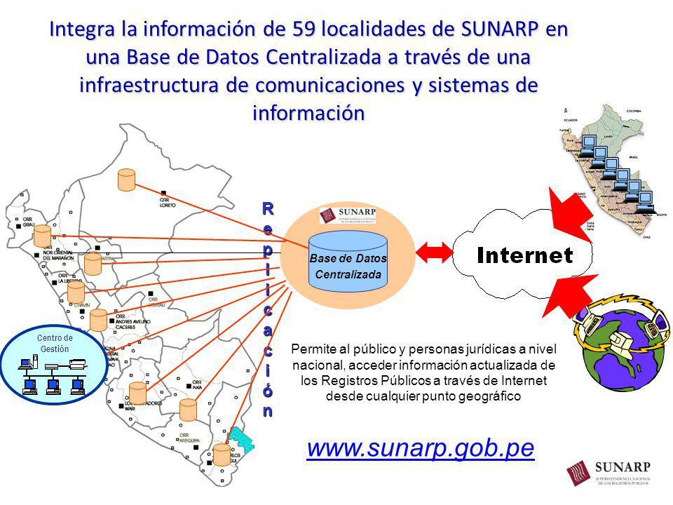 Integra la información de 59 localidades de SUNARP en una Base de Datos Centralizada a través de una infraestructura de comunicaciones y sistemas de información