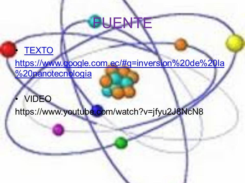 FUENTE TEXTO. https://www.google.com.ec/#q=inversion%20de%20la%20nanotecnologia.