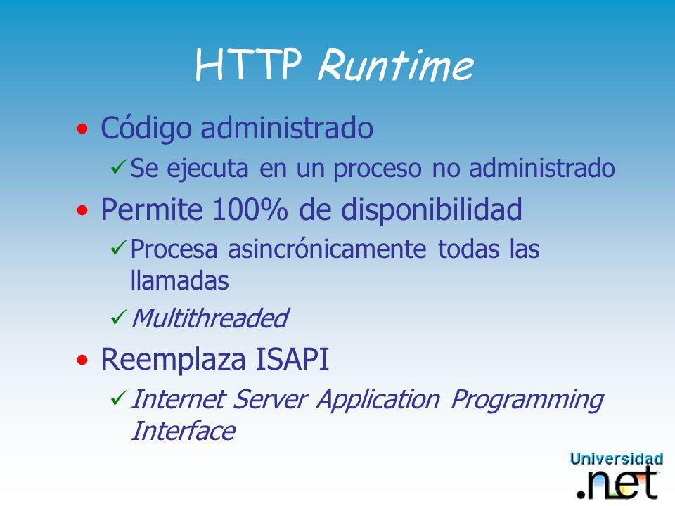 HTTP Runtime Código administrado Permite 100% de disponibilidad