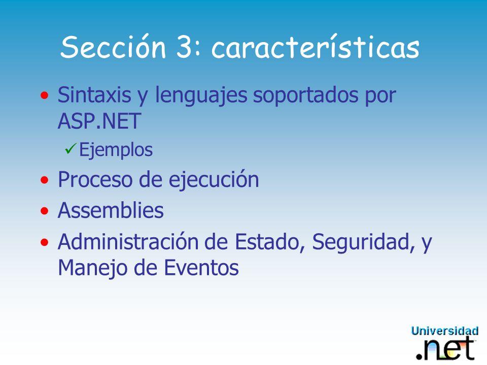 Sección 3: características