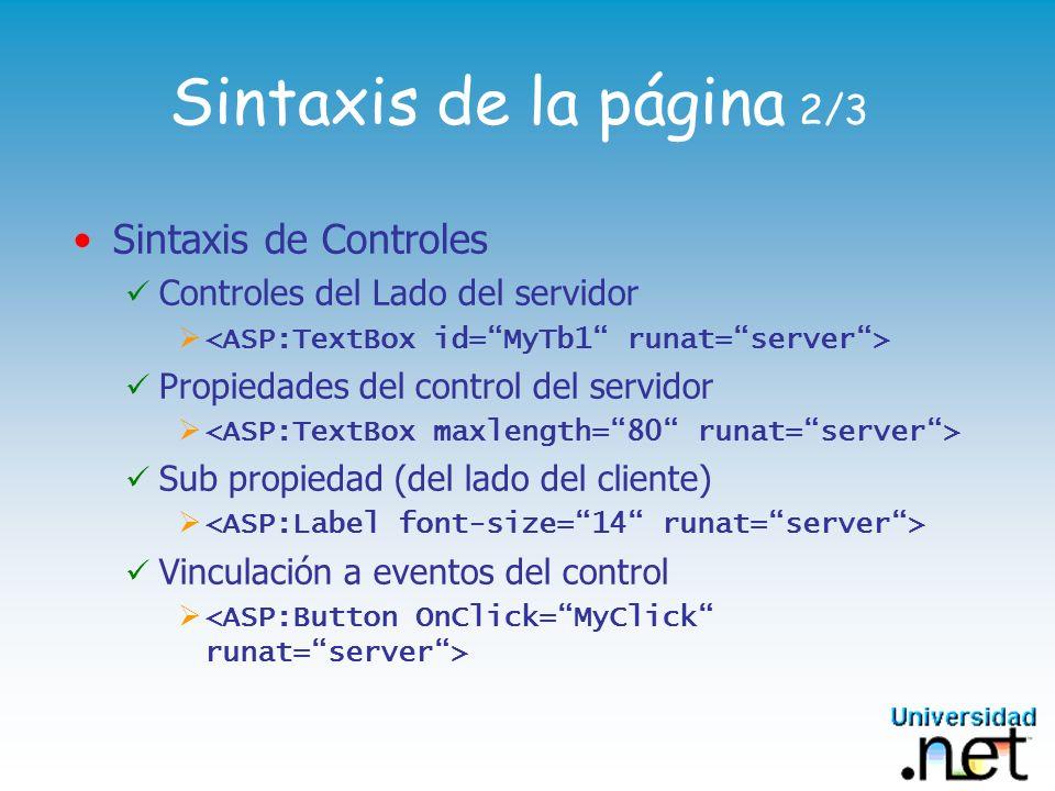 Sintaxis de la página 2/3 Sintaxis de Controles