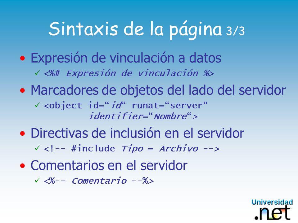 Sintaxis de la página 3/3 Expresión de vinculación a datos