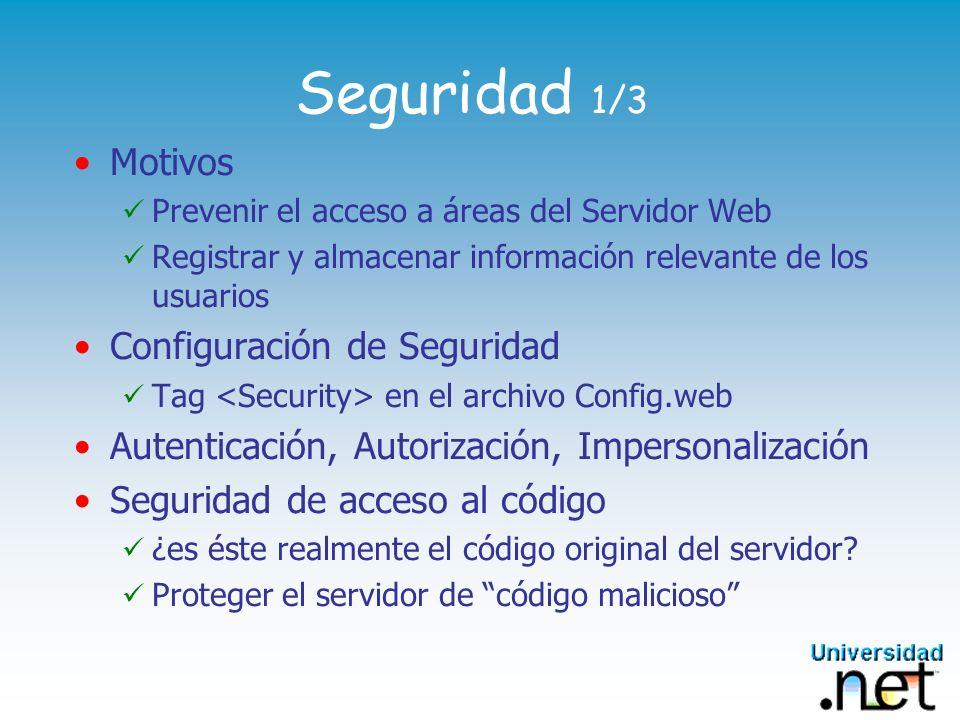 Seguridad 1/3 Motivos Configuración de Seguridad
