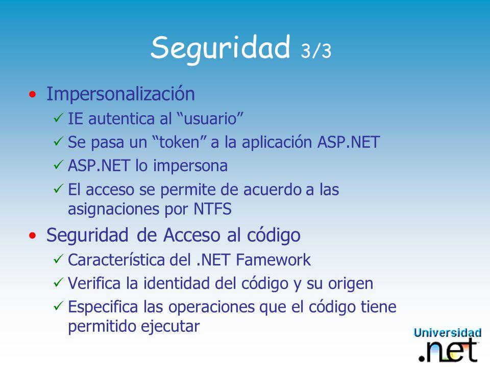 Seguridad 3/3 Impersonalización Seguridad de Acceso al código