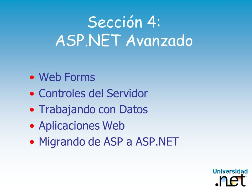 Sección 4: ASP.NET Avanzado