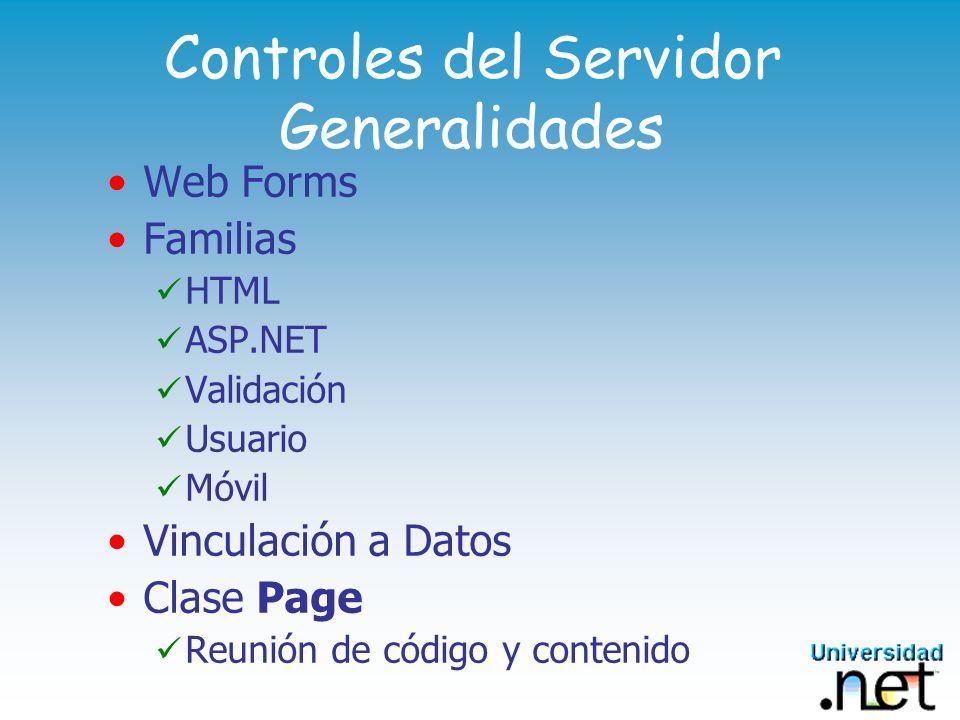 Controles del Servidor Generalidades