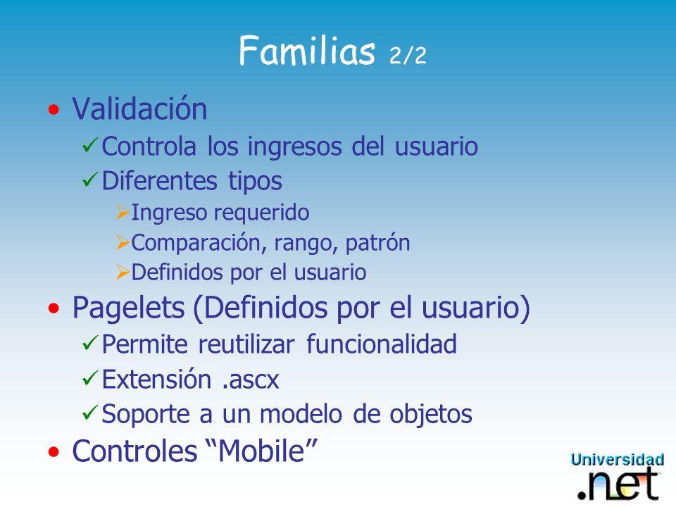 Familias 2/2 Validación Pagelets (Definidos por el usuario)