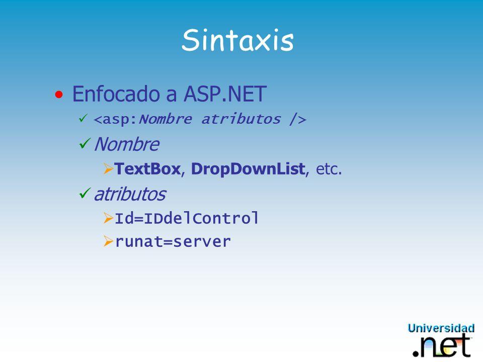 Sintaxis Enfocado a ASP.NET Nombre atributos