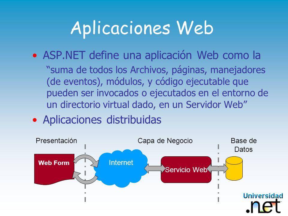 Aplicaciones Web ASP.NET define una aplicación Web como la