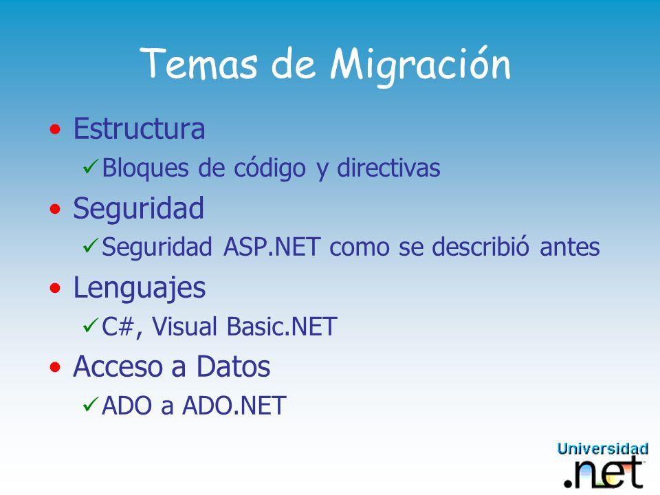 Temas de Migración Estructura Seguridad Lenguajes Acceso a Datos