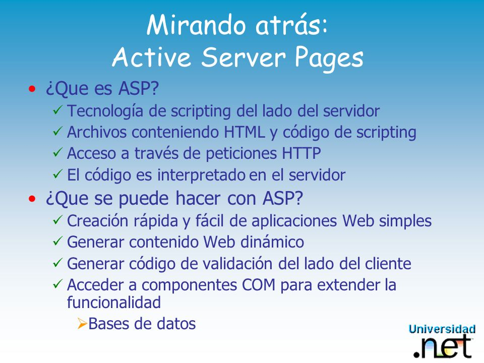 Mirando atrás: Active Server Pages