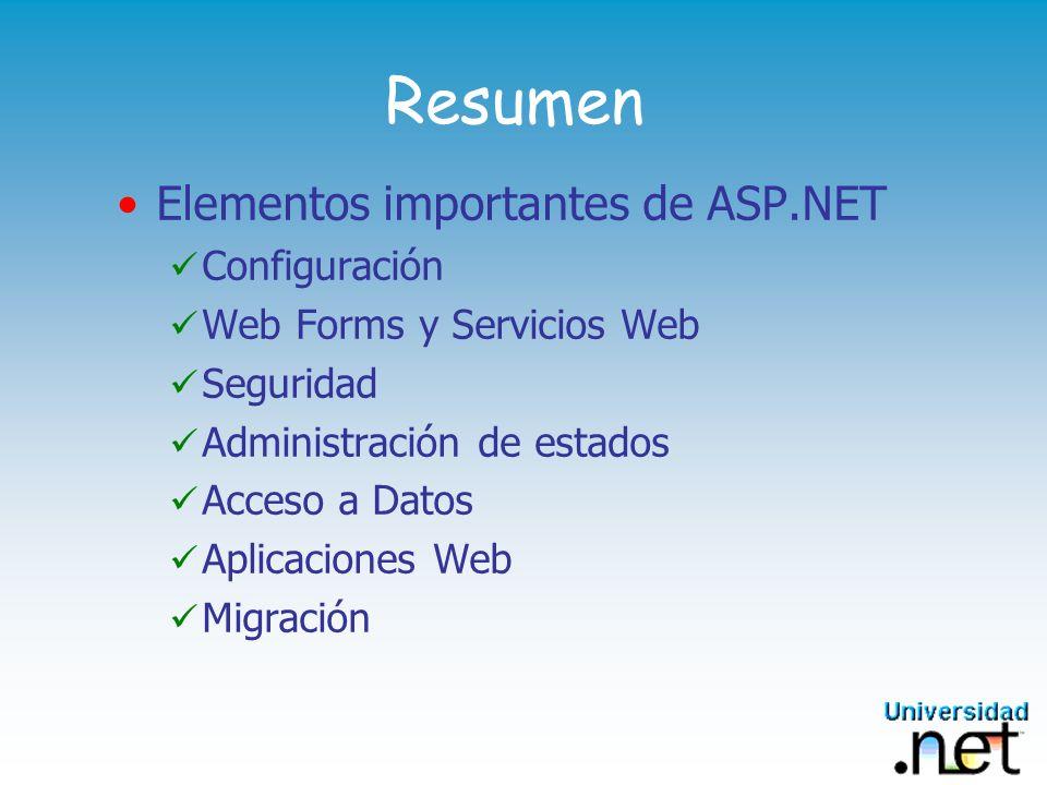 Resumen Elementos importantes de ASP.NET Configuración