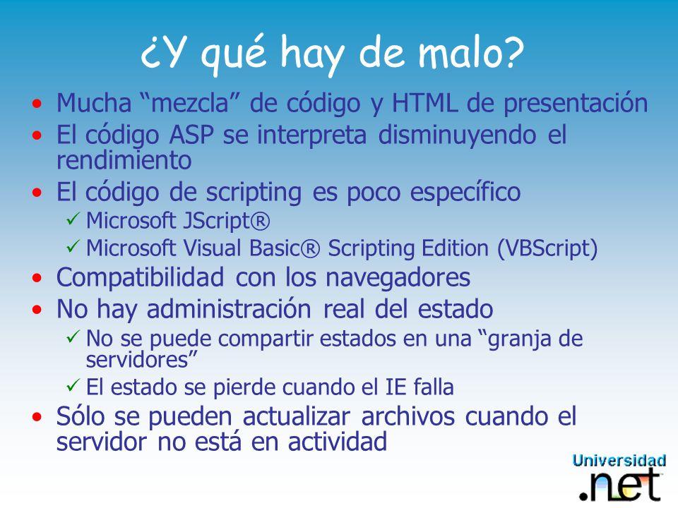 ¿Y qué hay de malo Mucha mezcla de código y HTML de presentación