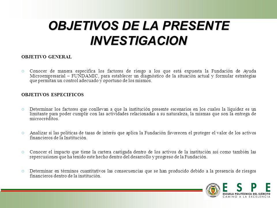 OBJETIVOS DE LA PRESENTE INVESTIGACION