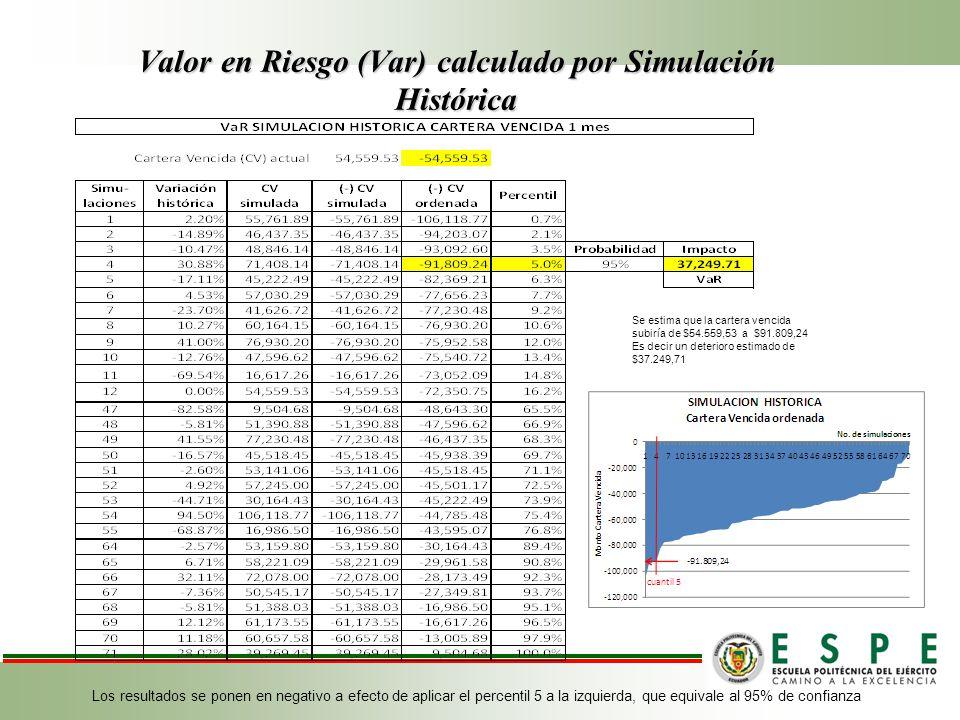 Valor en Riesgo (Var) calculado por Simulación Histórica