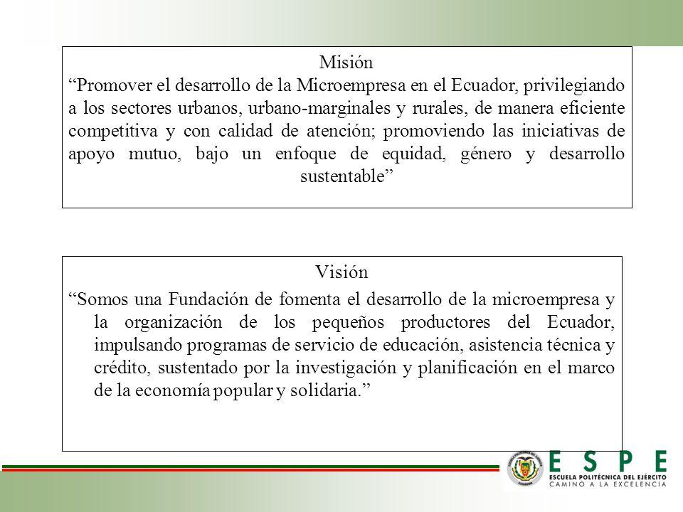Misión Promover el desarrollo de la Microempresa en el Ecuador, privilegiando a los sectores urbanos, urbano-marginales y rurales, de manera eficiente competitiva y con calidad de atención; promoviendo las iniciativas de apoyo mutuo, bajo un enfoque de equidad, género y desarrollo sustentable