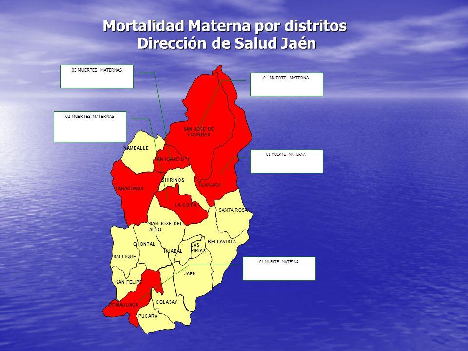 Mortalidad Materna por distritos Dirección de Salud Jaén