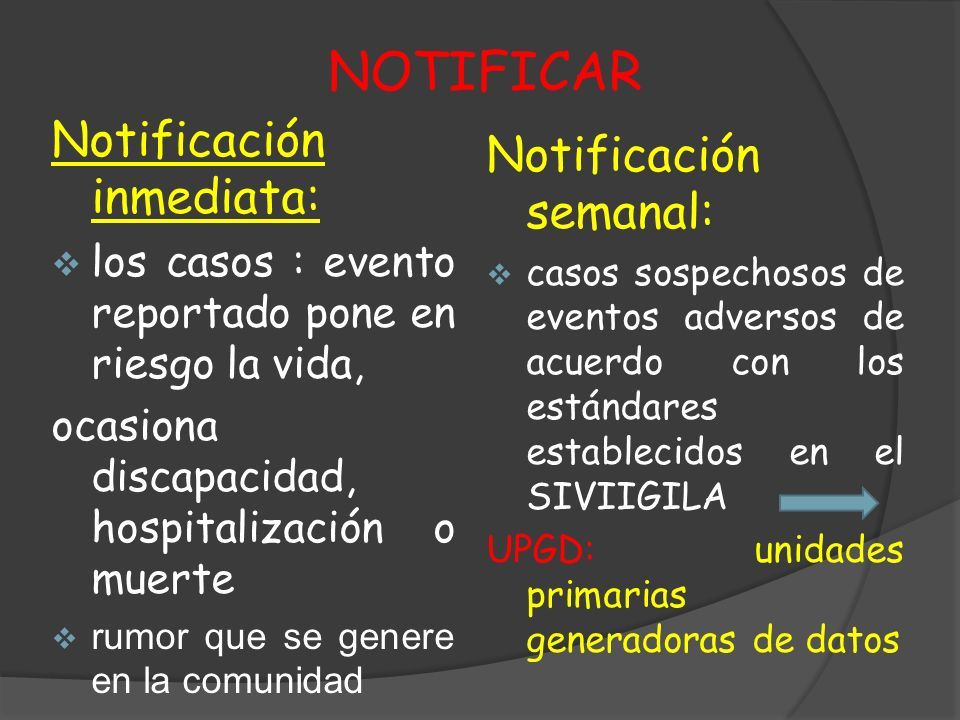 NOTIFICAR Notificación inmediata: Notificación semanal: