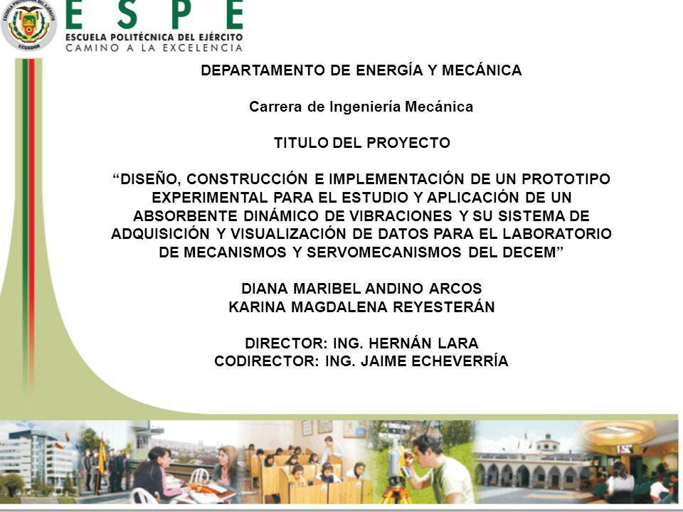 DEPARTAMENTO DE ENERGÍA Y MECÁNICA Carrera de Ingeniería Mecánica