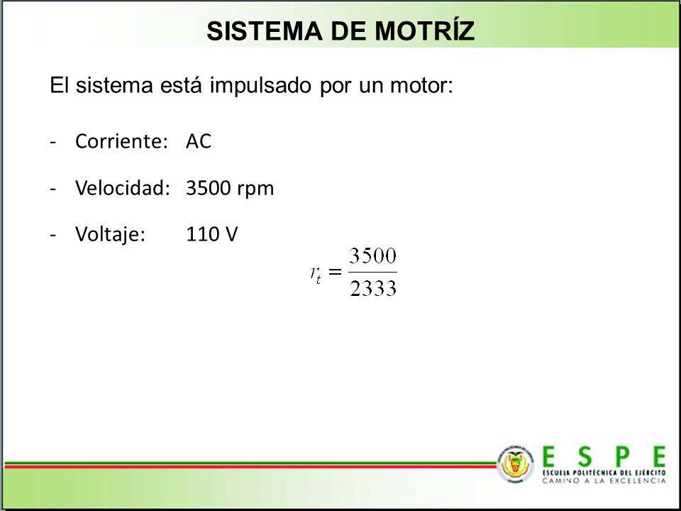 SISTEMA DE MOTRÍZ El sistema está impulsado por un motor: