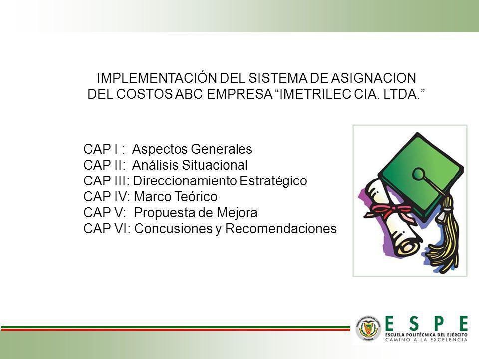 IMPLEMENTACIÓN DEL SISTEMA DE ASIGNACION DEL COSTOS ABC EMPRESA IMETRILEC CIA. LTDA.