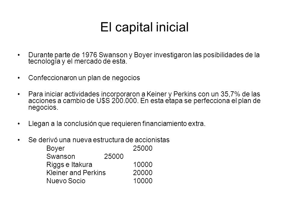 El capital inicial Durante parte de 1976 Swanson y Boyer investigaron las posibilidades de la tecnología y el mercado de esta.